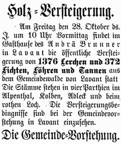 Holz Versteigerung Lienzer Zeitung 1892-09-24